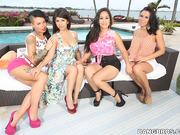 asian, lesbian, threesome, white