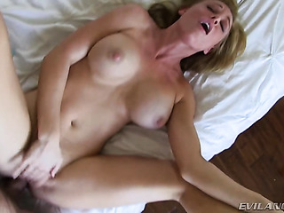 fake-tit blonde intensively fucked