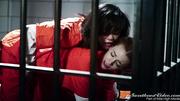 young brunette prisoner gives