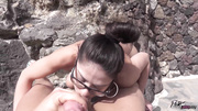 spectacled brunette fucking outdoors