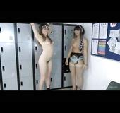 Locker room undressing with two leggy brunette teens