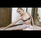 See-through skirt blonde undresses during dancing pratice