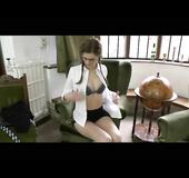 Tie-wearing innocent schoolgirl undressing in a staffroom