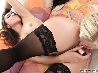 brunette black stockings toying