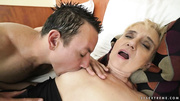 horny blonde grandma toyed