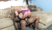 blonde skank purple lingerie