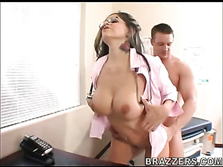 latina brunette doctor pink
