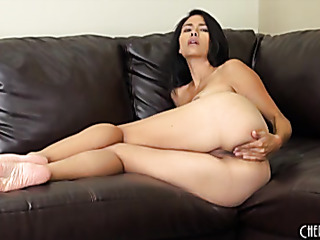brunette lady takes off