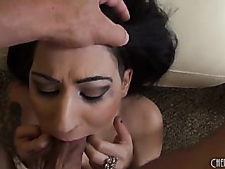 naked dark-haired babe gives