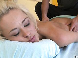 glamorous blonde massaged and