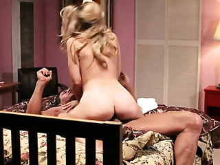 busty blonde sucks and