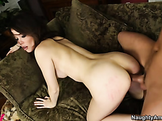 petite chick bends over