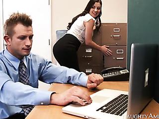 sexy brunette corporate attire