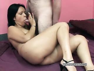 beautiful latin brunette sucks