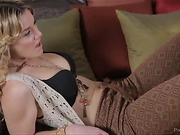 Young blonde wearing cream sleeveless top with black bra and maroon and green pants makes out with a hot cougar with colorful blouse before getting screwed and drinks the jizz of the same cock.