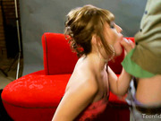 Hot blonde chokes as she stabs a huge meat deep in her throat then gets pinned on the couch while getting strangled.