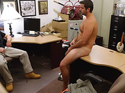 Tattooed guy with a beard stroking his dick before fucking with a gay in the pawn shop