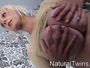 Busty blonde bitch in a yellow top takes it off to bounce her natural fun bags and suck nipples