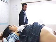 Bootylicious school girl from Japan in a uniform gets mouthful of semen after a dirty banging in the class room