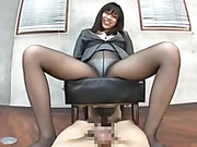 Nasty Japanese babe in glasses and pantyhose craving hot sex with her co-worker