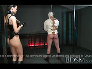 Dude in a strait jacket cumming from a handjob after a cool anal hook torture by brunette mistress in a spiked collar