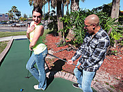 Small-titted brunette golf player getting her snatch stretched with a thick boner