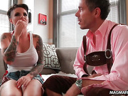 Extravagant tattooed brunette with big boobs getting fucked variously