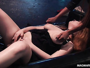 Ginger chick with pierced nipples and clit and a masked dude getting torture and humiliated by an ebony busty mistress