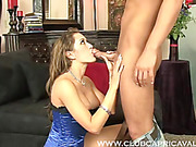Beautiful brunette seduces a hot stud by peeling off her elegant yellow dress before going down to suck his cock before she bounces on it hard wearing her sexy blue corset.