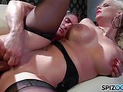 Cute curvy blonde in black underwear and stockings sucks cock before fuck