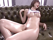 Cock hungry Asian hottie gets her clits, asshole and pussy fucked with dildos