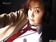 Dirty Asian babe in school uniform sucking cock and drilled with vibrator and toys