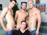 Three studs get their dicks sucked by a dude in the living room.