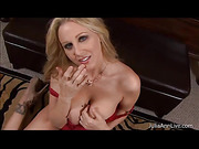 Gorgeous housewife gets down on her knees and wraps her mouth around her hubby's huge cock then she sandwiches it and rubs it between her big breasts before sucking its balls.