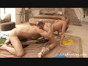 Sexy milf laying on a blue mat doing some exercise before she lets her man take off her white and blue gym outfit and fuck her in doggy position then she gets on top of him and rips her asshole as she bounces hard on his dick wearing her white high heels