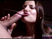 Amazing brunette cutie with apple tits swallows semen after a deep throat blowjob
