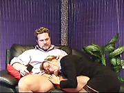 Naughty blonde nerd in black and blue outfit blows cock and gets cum on face