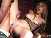Fair-haired mom in a fishnet blouse gets her shaved cunt screwed with a thick boner