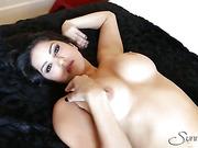 brunette, individual model, panties, rubbing