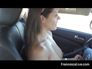 Busty brunette slut driving a car topless and then giving an awesome blowjob with cool facial