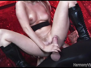 Blonde hooker in high boots serving three gloryholes before hard anal foursome fuck