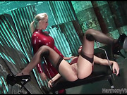 Ponytailed blondie and her brunette assistant both in latex use strap-on for their dirty threesome