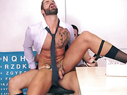 Two hunks with beards get in hard anal fucking in the office
