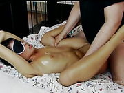 Raven-haired gal is fettered and blindfolded before being made to suck and fuck a stranger.