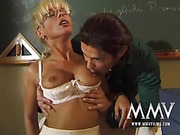 Busty blonde teacher in sexy lingerie and stockings gets all her holes poked before her students