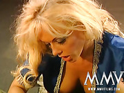 Big-titted blondie in Arabic blue outfit gets her snatch poked in various poses