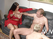 short-haired blonde mature and