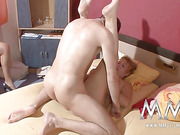 Short-haired mature BBW gives head after fucking before brunette bitch in red suit