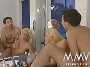 Big-titted blonde bombshell gets her cunt poked in the bathroom