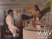 Pervert doctor handling his busty patient in his examination office